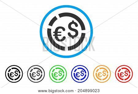 Currency Diagram rounded icon. Style is a flat currency diagram gray symbol inside light blue circle with black, gray, green, blue, red, orange variants.