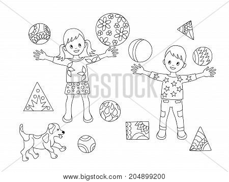 Coloring page with cartoon playing kids and puppy with balls for children coloring book album decorate kids room wall book. Black and white outline illustration. eps 10