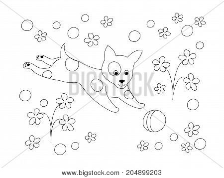 Coloring page with cute cartoon playing puppy among flowers for children coloring book album decorate kids room wall book. Black and white outline illustration. eps 10