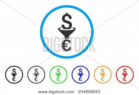 Dollar Euro Conversion Filter rounded icon. Style is a flat dollar euro conversion filter grey symbol inside light blue circle with black, gray, green, blue, red, orange variants.