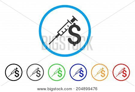 Drug Business rounded icon. Style is a flat drug business grey symbol inside light blue circle with black, gray, green, blue, red, orange color versions.