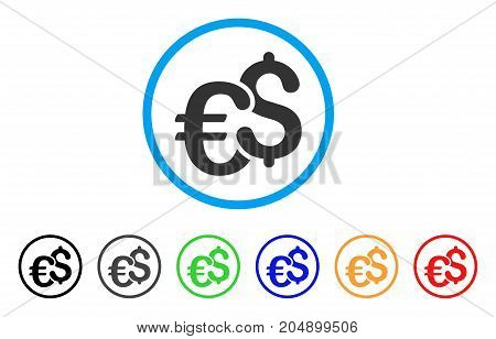 Euro And Dollar Currency rounded icon. Style is a flat euro and dollar currency gray symbol inside light blue circle with black, gray, green, blue, red, orange versions.