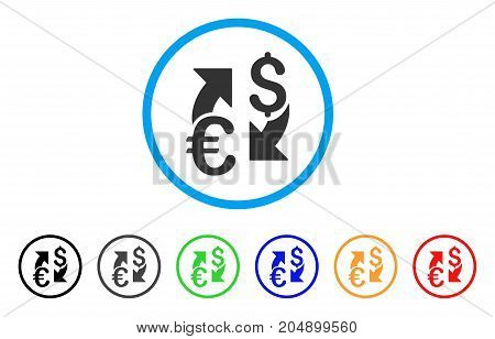Euro Dollar Exchange rounded icon. Style is a flat euro dollar exchange gray symbol inside light blue circle with black, gray, green, blue, red, orange color versions.