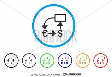 Euro Dollar Flow Chart rounded icon. Style is a flat euro dollar flow chart gray symbol inside light blue circle with black, gray, green, blue, red, orange color versions.