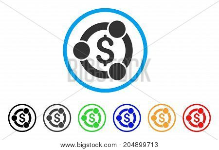 Financial Collaboration rounded icon. Style is a flat financial collaboration grey symbol inside light blue circle with black, gray, green, blue, red, orange versions.