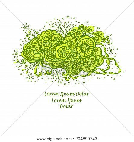 Template with abstract marine flowers bouquet in green yellow on white for decoration  package of perfume cosmetic shampoo soap or for advertising hygiene products purity  freshness