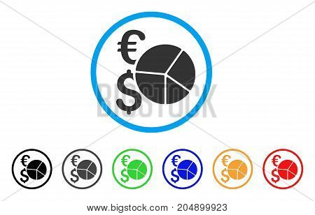 Financial Pie Chart rounded icon. Style is a flat financial pie chart gray symbol inside light blue circle with black, gray, green, blue, red, orange variants.