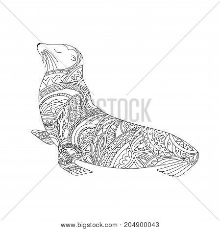 Hand drawn ornamental fur seal in zen style for decorate stationery dishes porcelain ceramics t-shirt print. Page anti-stress adult coloring book. eps 10