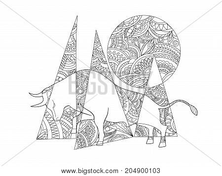 Hand drawn ornamental composition with bull in zen style for decorate stationery dishes porcelain ceramics t-shirt print. Page anti-stress adult coloring book. eps 10