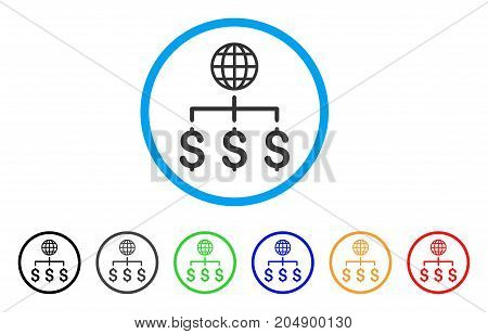 Global Payments rounded icon. Style is a flat global payments grey symbol inside light blue circle with black, gray, green, blue, red, orange color versions.