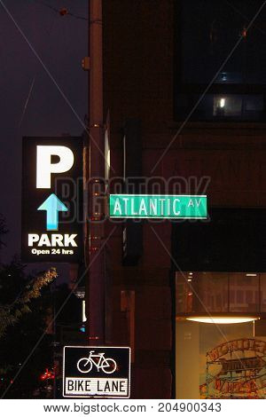 New York USA - 28 September 2016: Street Sign for Atlantic Avenue an important street in the New York City boroughs of Brooklyn and Queens.