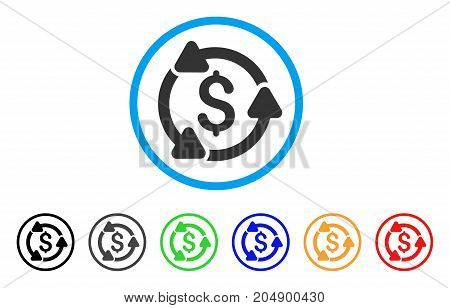 Money Circulation rounded icon. Style is a flat money circulation grey symbol inside light blue circle with black, gray, green, blue, red, orange color versions.