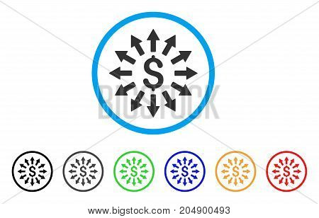 Money Distribution rounded icon. Style is a flat money distribution grey symbol inside light blue circle with black, gray, green, blue, red, orange color versions.