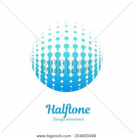 Vector abstract logo halftone design element. Color dotted sphere business logotype