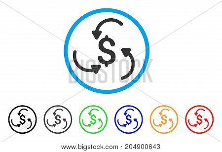 Money Swirl rounded icon. Style is a flat money swirl grey symbol inside light blue circle with black, gray, green, blue, red, orange versions. Vector designed for web and software interfaces.