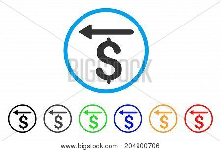 Moneyback rounded icon. Style is a flat moneyback gray symbol inside light blue circle with black, gray, green, blue, red, orange versions. Vector designed for web and software interfaces.