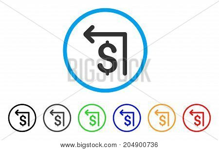 Moneyback rounded icon. Style is a flat moneyback grey symbol inside light blue circle with black, gray, green, blue, red, orange color versions. Vector designed for web and software interfaces.