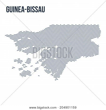 Vector Abstract Hatched Map Of Guinea-bissau With Zig Zag Lines Isolated On A White Background.