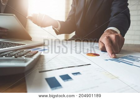 Business Man Working At Office With Laptop And Documents,businessmen Using Documents At Meeting, Sup