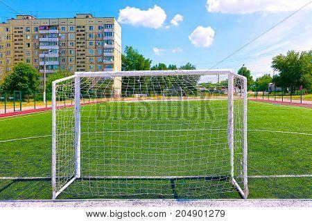 The Soccer Football field at the schoolyard at Kiev, Ukraine