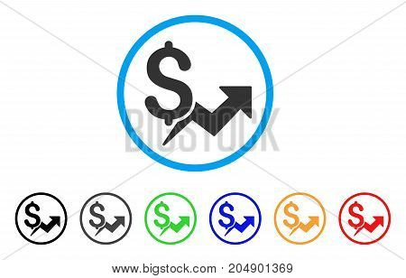 Price Growth rounded icon. Style is a flat price growth gray symbol inside light blue circle with black, gray, green, blue, red, orange versions. Vector designed for web and software interfaces.