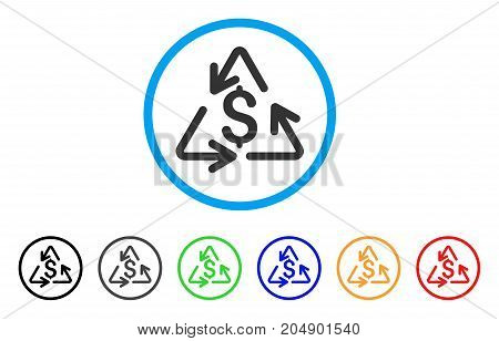 Recycling Cost rounded icon. Style is a flat recycling cost gray symbol inside light blue circle with black, gray, green, blue, red, orange variants. Vector designed for web and software interfaces.