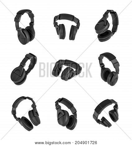 3d rendering of a set of many black headphones in different angles on white background. Modern audio equipment.