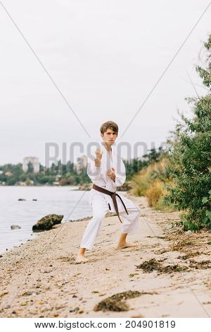 Full-length portrait of a karate man in action on a blurred natural background. Serious teenager practicing taekwondo outdoors.