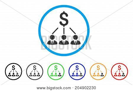 Shareholders rounded icon. Style is a flat shareholders grey symbol inside light blue circle with black, gray, green, blue, red, orange variants. Vector designed for web and software interfaces.