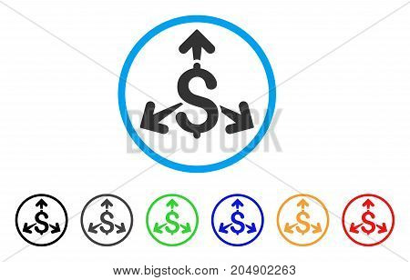 Spend Money rounded icon. Style is a flat spend money grey symbol inside light blue circle with black, gray, green, blue, red, orange variants. Vector designed for web and software interfaces.
