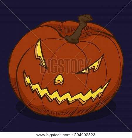 Jack Lantern isolated on blue background. Carved pumpkin for Halloween design. Vector