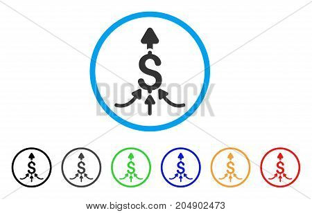 Unite Payments rounded icon. Style is a flat unite payments gray symbol inside light blue circle with black, gray, green, blue, red, orange versions. Vector designed for web and software interfaces.