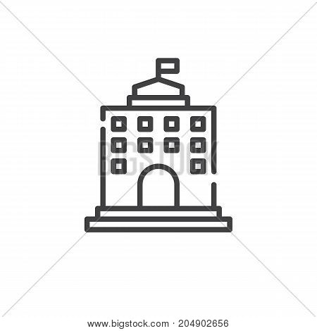 University building line icon, outline vector sign, linear style pictogram isolated on white. Symbol, logo illustration. Editable stroke
