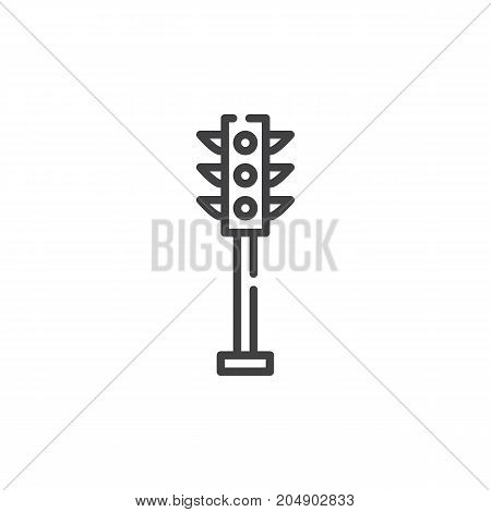 Traffic light line icon, outline vector sign, linear style pictogram isolated on white. Symbol, logo illustration. Editable stroke