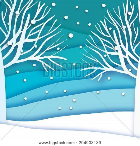 Paper cut landscape and forest. Merry Christmas Greeting card. Origami snowy winter season. Happy New Year. Trunk. Paper art style. Blue background. Vector illustration