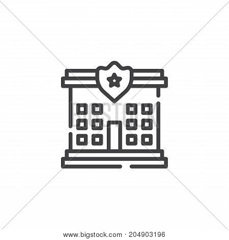 Police station line icon, outline vector sign, linear style pictogram isolated on white. Symbol, logo illustration. Editable stroke