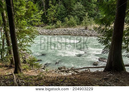 Beautiful high mountain green river in Nairn Falls Provincial Park British Columbia Canada