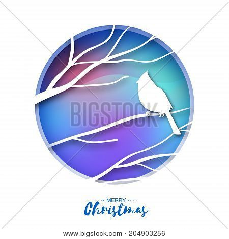 Red cardinal sitting on a branch. Merry Christmas Greeting Card.Bird sitting on a birches branch in paper cut style. Origami Fall winter. Happy holidays. Blue Gradient background. Vector illustration.