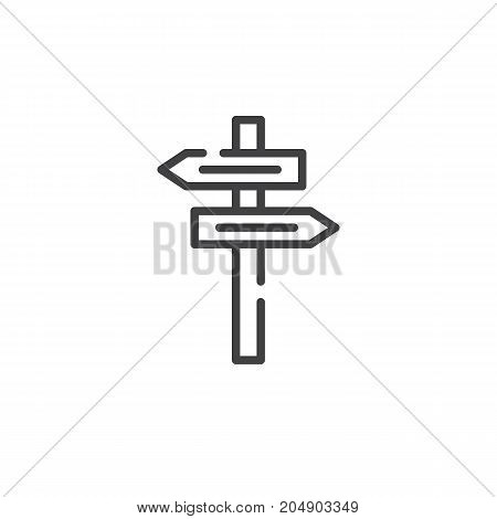 Street signpost line icon, outline vector sign, linear style pictogram isolated on white. Symbol, logo illustration. Editable stroke