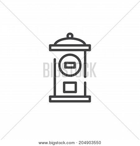 Mail box line icon, outline vector sign, linear style pictogram isolated on white. Symbol, logo illustration. Editable stroke
