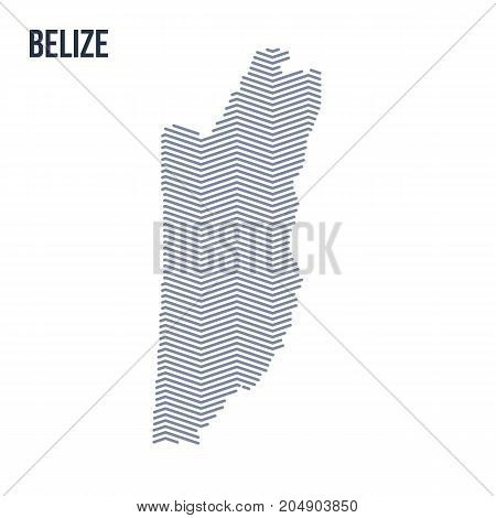 Vector Abstract Hatched Map Of Belize With Zig Zag Lines Isolated On A White Background.
