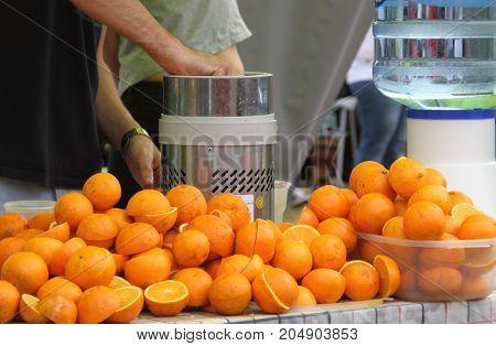 juice of organic oranges, hand-squeezed. sales fair