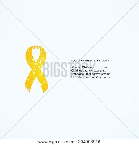 Gold painted awareness ribbon. Alveolar Rhabdomyosarcoma, Childhood cancer, Embryonal Rhabdomyosarcoma, Neuroblastoma and Osteosarcoma. Isolated. List of meanings, symbol, name of color