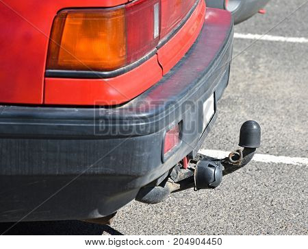 Towbar of a car outdoor in summer