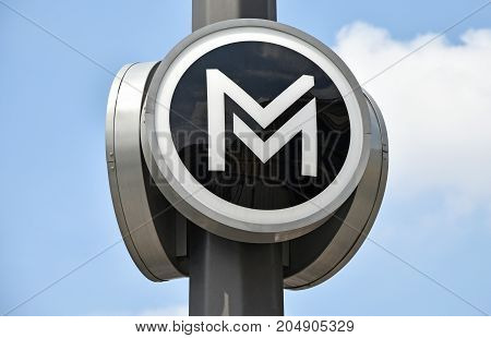 Metro underground sign Budapest Hungary in summer