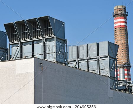 Smoke stack and air filtes of the power plant