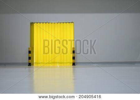 food factory door on epoxy floor in warehouse