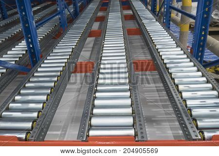 roller conveyor in beverage factory construction site