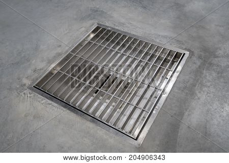 stainless grating cover on epoxy floor food process factory warehouse construction site