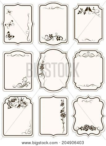 Vector tags with floral silhouttes and calligraphic elements